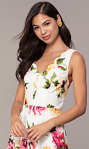 Image of scalloped v-neck short floral-print grad dress. Style: CT-7244XC7BT1 Detail Image 1