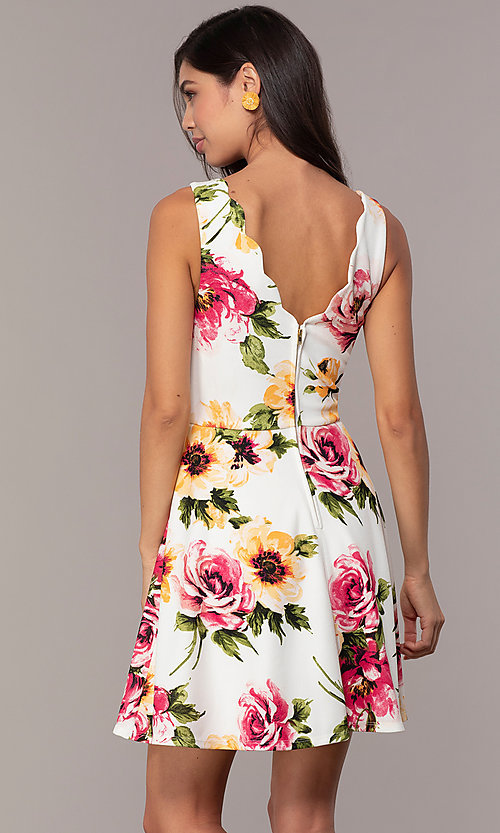 Image of scalloped v-neck short floral-print grad dress. Style: CT-7244XC7BT1 Back Image