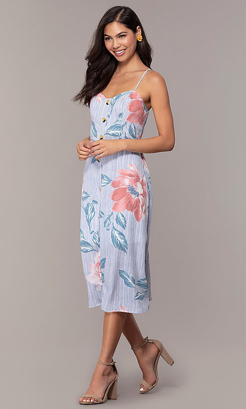 Image of midi-length floral-print casual party dress. Style: CT-A351A-K36T1 Front Image