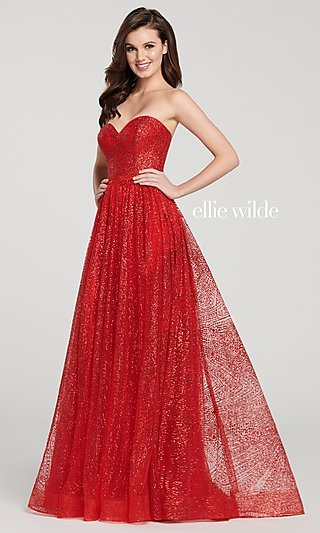 Glitter A-Line Prom Dress with a Sheer Bodice