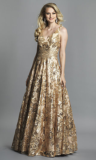 Long Dave and Johnny A-Line Print Prom Dress