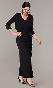 Image of long black MOB dress with removable jacket. Style: MO-3845 Front Image