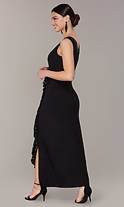 Image of long black MOB dress with removable jacket. Style: MO-3845 Detail Image 2