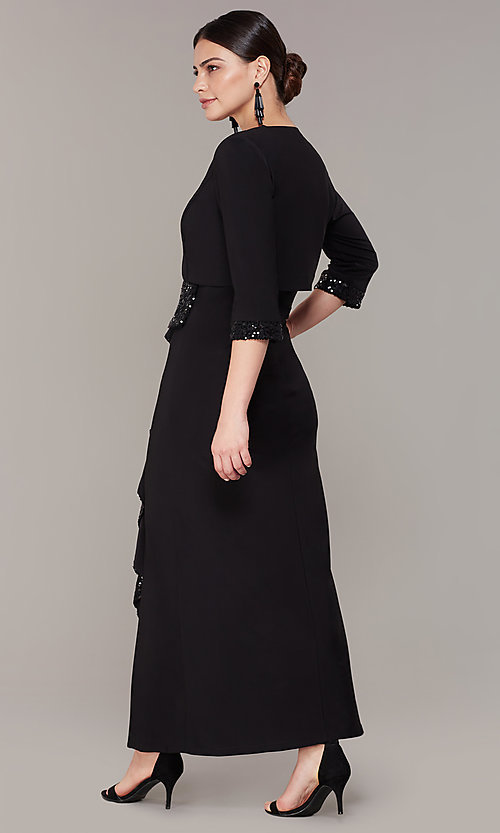 Image of long black MOB dress with removable jacket. Style: MO-3845 Back Image