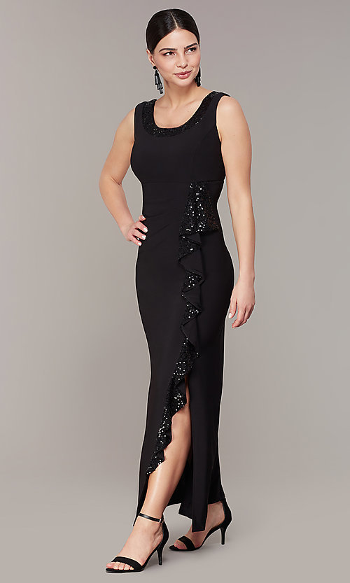 Image of long black MOB dress with removable jacket. Style: MO-3845 Detail Image 1