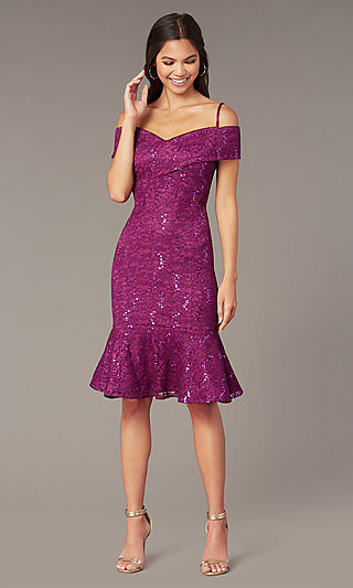 4a1edae9cdd Berry Purple Short Lace Mother-of-the-Bride Dress