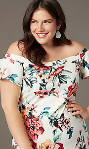 Image of floral-print short off-shoulder party dress. Style: SY-IXD6234EP Detail Image 1