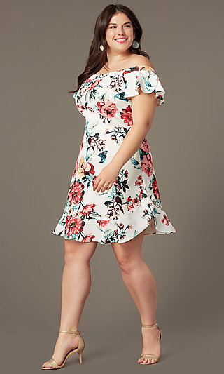 Floral-Print Short Off-Shoulder Party Dress