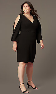Image of plus v-neck little black party dress with sleeves. Style: SY-IXD6427AP Front Image