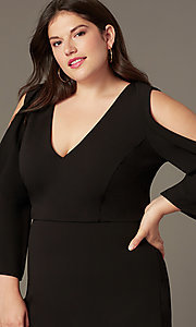 Image of plus v-neck little black party dress with sleeves. Style: SY-IXD6427AP Detail Image 1