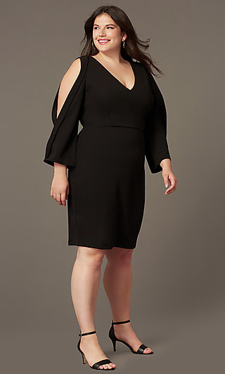Plus V-Neck Little Black Party Dress with Sleeves