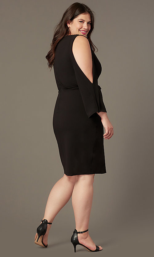 Image of plus v-neck little black party dress with sleeves. Style: SY-IXD6427AP Back Image