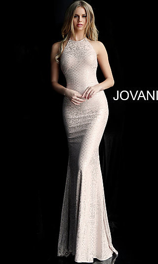 Long Beaded Caged-Back Prom Dress by Jovani