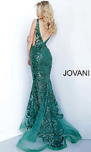 Image of Jovani embroidered long prom dress with sequins. Style: JO-60283 Detail Image 3