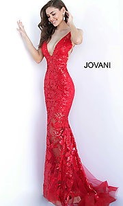 Image of Jovani embroidered long prom dress with sequins. Style: JO-60283 Detail Image 1