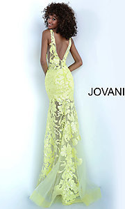Image of Jovani embroidered long prom dress with sequins. Style: JO-60283 Back Image