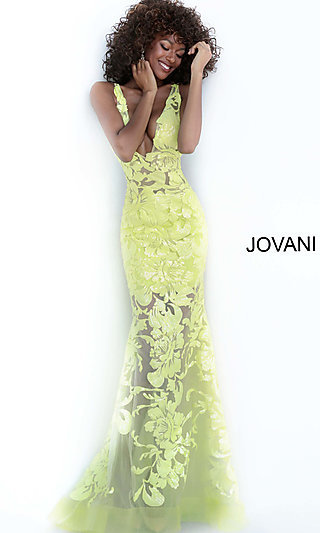 Jovani Embroidered Long Prom Dress with Sequins