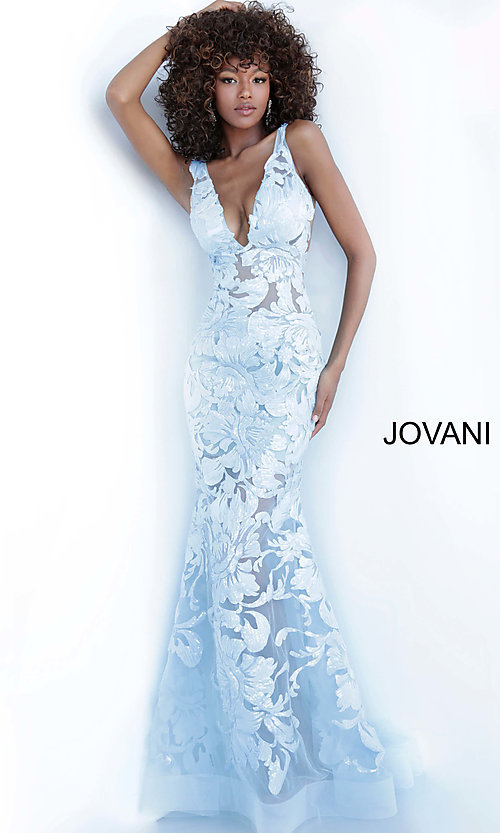Image of Jovani embroidered long prom dress with sequins. Style: JO-60283 Detail Image 2