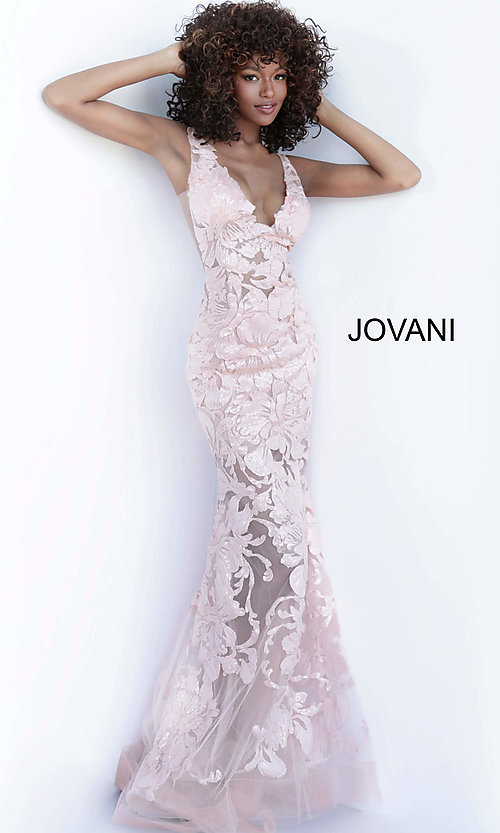 Image of Jovani embroidered long prom dress with sequins. Style: JO-60283 Detail Image 4