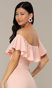 Image of high-low off-shoulder wedding-guest party dress. Style: DC-D47262 Detail Image 2