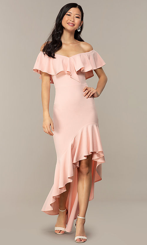 Image of high-low off-shoulder wedding-guest party dress. Style: DC-D47262 Front Image