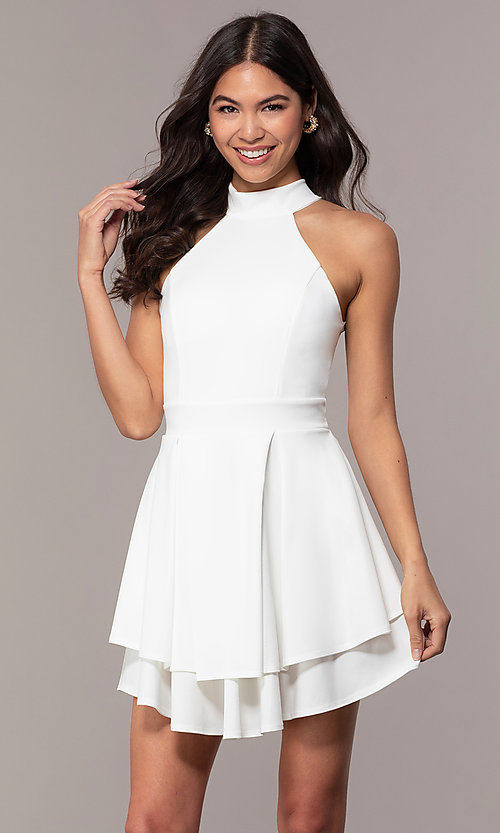 Image of tiered-skirt sleeveless short white party dress. Style: DC-D47176 Front Image