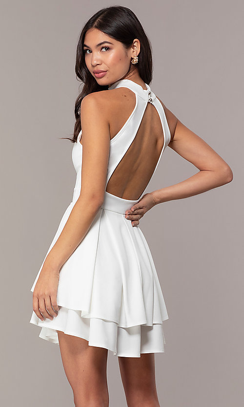 Image of tiered-skirt sleeveless short white party dress. Style: DC-D47176 Back Image