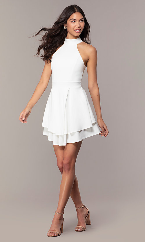 Image of tiered-skirt sleeveless short white party dress. Style: DC-D47176 Detail Image 3
