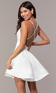 Image of fit-and-flare short backless graduation dress. Style: DC-D46417 Detail Image 5