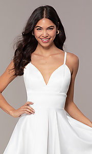 Image of fit-and-flare short backless graduation dress. Style: DC-D46417 Detail Image 1