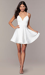 Image of fit-and-flare short backless graduation dress. Style: DC-D46417 Detail Image 3