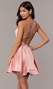Image of fit-and-flare short backless graduation dress. Style: DC-D46417 Back Image