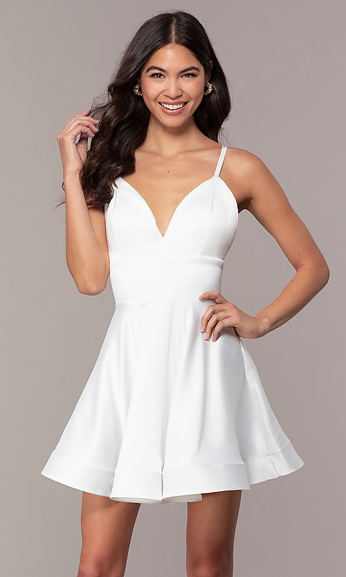 Image of fit-and-flare short backless graduation dress. Style: DC-D46417 Front Image