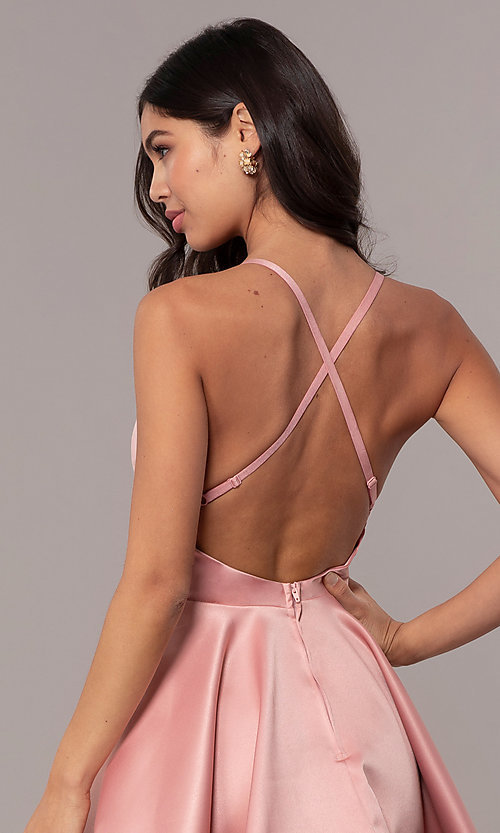 Image of fit-and-flare short backless graduation dress. Style: DC-D46417 Detail Image 2