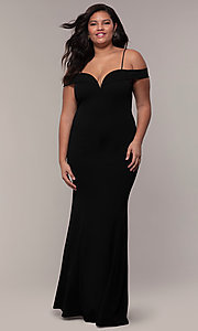 Image of off-the-shoulder long plus-size prom dress. Style: MCR-SD-1559P Front Image