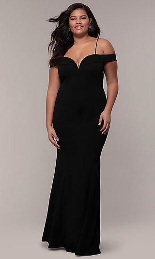 Long Off-Shoulder Plus-Sized Prom Dress - PromGirl
