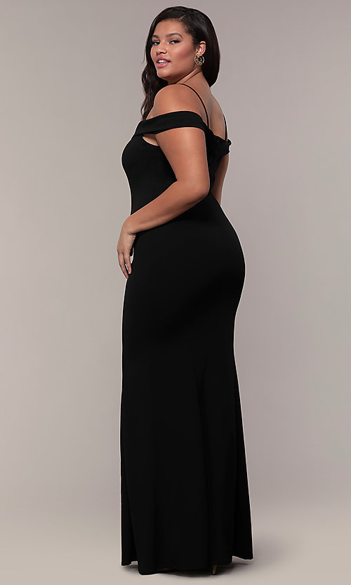 Image of off-the-shoulder long plus-size prom dress. Style: MCR-SD-1559P Back Image