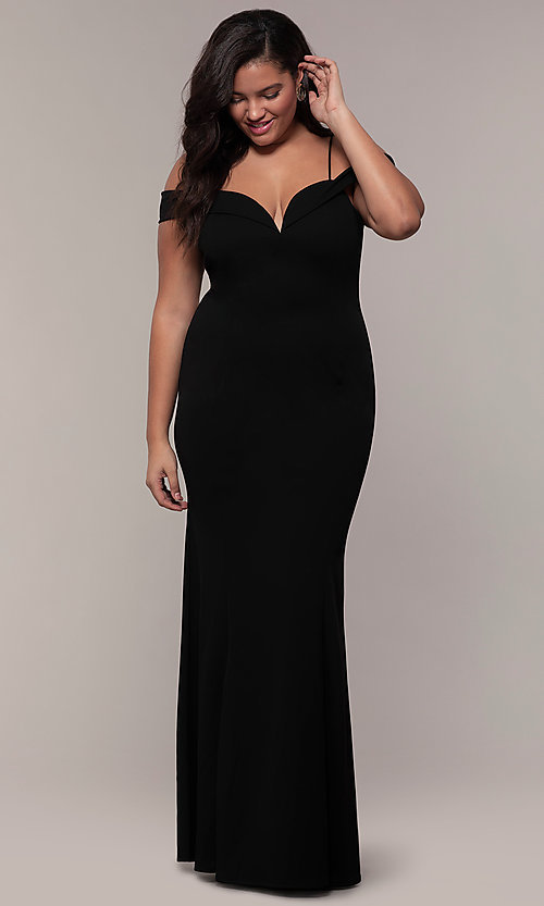 Image of off-the-shoulder long plus-size prom dress. Style: MCR-SD-1559P Detail Image 3