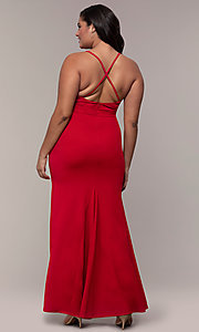 Image of plus-size long v-neck prom dress by Simply. Style: MCR-SD-2601P Back Image