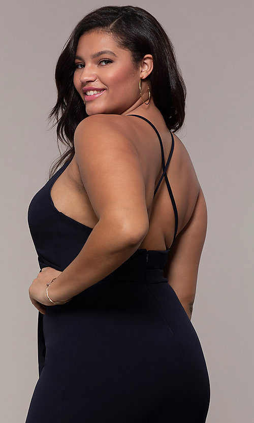 Image of plus-size long v-neck prom dress by Simply. Style: MCR-SD-2601P Detail Image 7