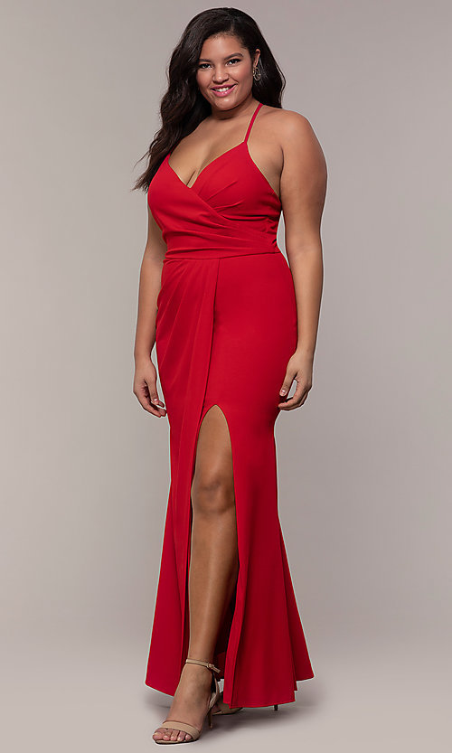 Image of plus-size long v-neck prom dress by Simply. Style: MCR-SD-2601P Detail Image 3