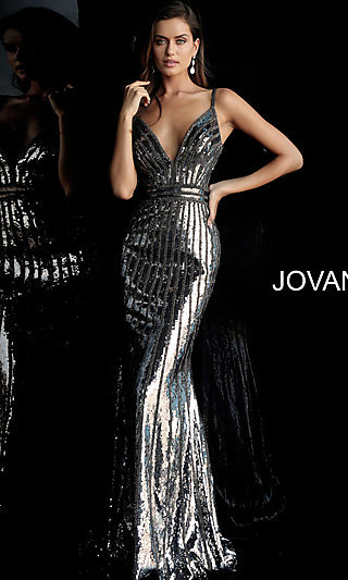 Long Sequined Striped V-Neck Designer Prom Dress