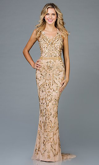 Long Beaded and Sequined Designer Prom Dress
