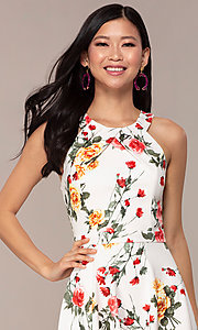 Image of floral-print short tiered graduation party dress. Style: EM-HIA-3967-150 Detail Image 1