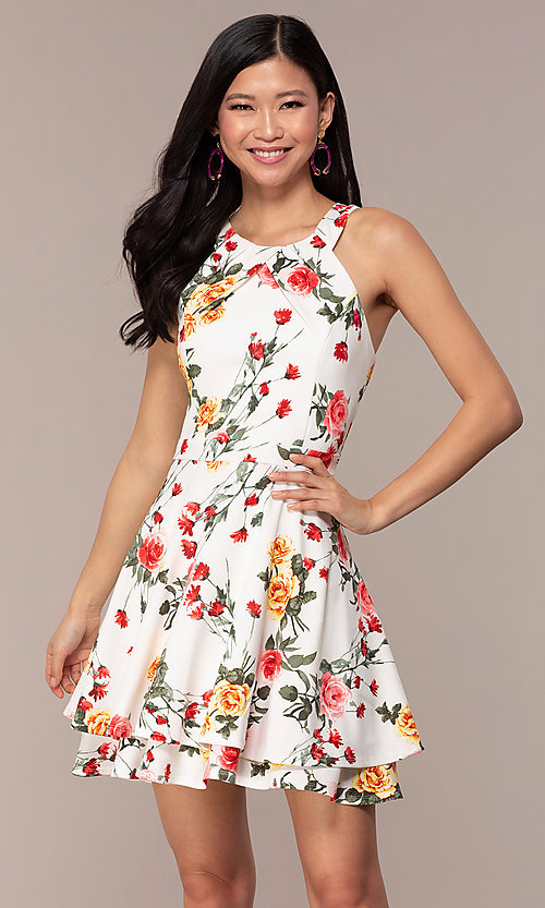 Image of floral-print short tiered graduation party dress. Style: EM-HIA-3967-150 Front Image
