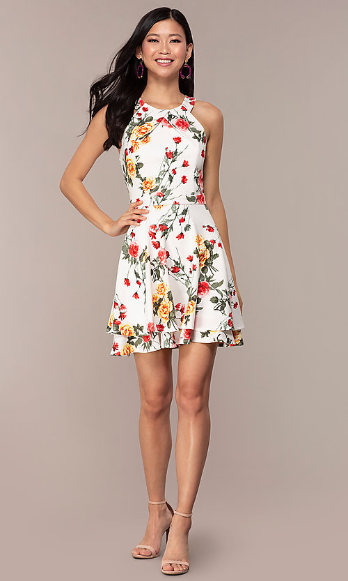 Image of floral-print short tiered graduation party dress. Style: EM-HIA-3967-150 Detail Image 3
