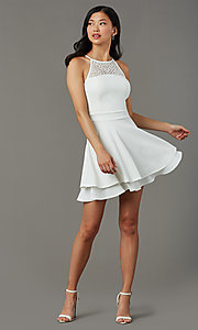 Image of short ivory white graduation dress with lace back. Style: EM-HAJ-4161-120 Front Image