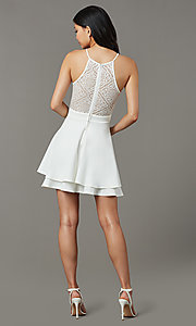 Image of short ivory white graduation dress with lace back. Style: EM-HAJ-4161-120 Back Image