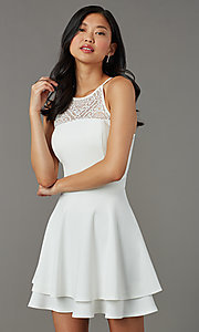 Image of short ivory white graduation dress with lace back. Style: EM-HAJ-4161-120 Detail Image 1