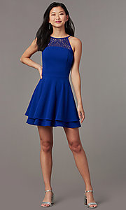 Image of short a-line party dress in royal blue. Style: EM-HAJ-4161-420 Front Image